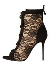 cheap -Women's Shoes Lace Spring Comfort / Fashion Boots Boots Stiletto Heel Black