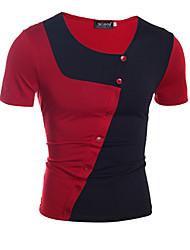 billige -Herre - Farveblok Patchwork Basale / Gade T-shirt