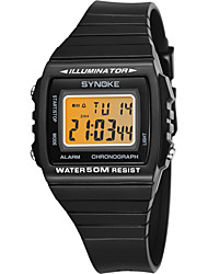 Недорогие -SYNOKE Муж. Спортивные часы электронные часы Цифровой Черный / Белый / Темно-синий 50 m Защита от влаги Календарь Секундомер Цифровой Мода - Белый Черный Темно-синий / Фосфоресцирующий