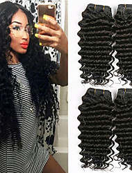 cheap -4 Bundles Mongolian Hair Curly Unprocessed Human Hair / Human Hair Gifts / Extension / Human Hair Extensions 8-28 inch Human Hair Weaves Machine Made Classic / Best Quality / Hot Sale Black Natural
