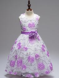 cheap -Kids Girls' Active Party / Going out Geometric Print Sleeveless / Short Sleeve Midi / Knee-length Dress