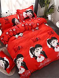 abordables -Sets Funda Nórdica Rojo chino 100% algodón Aplique 3 Piezas