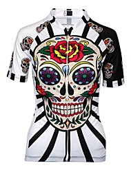 cheap -Malciklo Women's Cycling Jersey - Black / Red / White Skull Bike Jersey, Quick Dry, Anatomic Design, Breathable