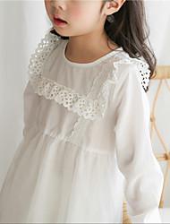 abordables -Enfants Fille Couleur Pleine Manches Longues Robe
