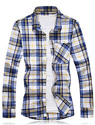 Недорогие -Муж. Большие размеры - Рубашка Хлопок В клетку / Черепа / Длинный рукав