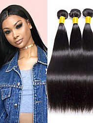 cheap -Indian Hair Straight Gifts / Natural Color Hair Weaves / Tea Party Favors 3 Bundles 8-28 inch Human Hair Weaves Fashionable Design / Soft / Party Natural Black Human Hair Extensions Women's