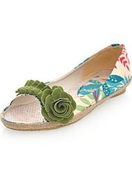 Недорогие -Жен. Обувь Полотно Лето / Осень Удобная обувь На плокой подошве На плоской подошве Открытый мыс Лиловый / Зеленый