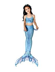 preiswerte -Die kleine Meerjungfrau Bikini / Kostüm Mädchen Halloween / Karneval Fest / Feiertage Halloween Kostüme Tintenblau Meerjungfrau Retro