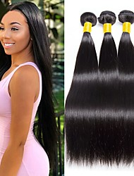 cheap -Malaysian Hair Straight Gifts / Natural Color Hair Weaves / Tea Party Favors 3 Bundles 8-28 inch Human Hair Weaves Simple / Soft / Party Natural Black Human Hair Extensions Women's