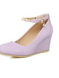cheap -Women's Shoes Faux Leather Spring / Fall Comfort / Basic Pump Heels Wedge Heel Beige / Light Purple