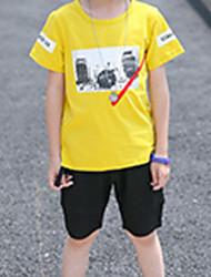 Недорогие -Дети Мальчики Классический Геометрический принт / С принтом С короткими рукавами Хлопок Набор одежды