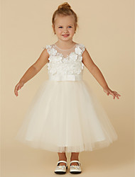 cheap -Princess Tea Length Flower Girl Dress - Lace / Tulle Sleeveless Jewel Neck with Buttons / Belt / Flower by LAN TING BRIDE®