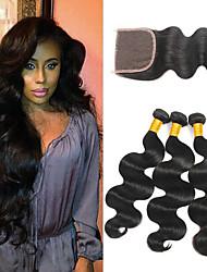 cheap -3 Bundles with Closure Peruvian Hair Body Wave Human Hair Headpiece / Extension / Hair Accessory 8-24 inch Human Hair Weaves 4x4 Closure Silky / Best Quality / Hot Sale Black Natural Color Human Hair