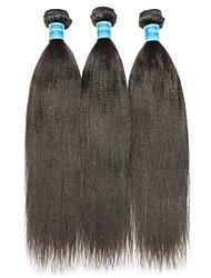 Недорогие -3 Связки Малазийские волосы Яки Не подвергавшиеся окрашиванию Человека ткет Волосы Ткет человеческих волос Расширения человеческих волос