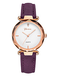cheap -Geneva Women's Wrist Watch Quartz New Design Casual Watch Cool Leather Band Analog Casual Fashion Brown / Purple / Clover - Green Gold / White White / Brown One Year Battery Life