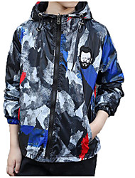 cheap -Kids Boys' Basic / Street chic Sports Print / Color Block Print Long Sleeve Cotton Jacket & Coat