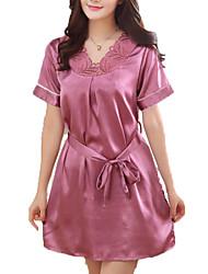 abordables -Mujer Escote en V Profunda Satén y Seda Pijamas Un Color