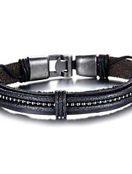 abordables -Homme Effets superposés Bracelets en cuir - Cuir Balle Rock Bracelet Noir Pour Quotidien Rendez-vous