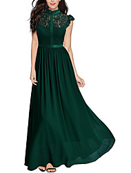 cheap -Women's Party / Going out Elegant Swing Dress - Solid Colored Lace Maxi Crew Neck / Summer