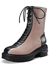 Недорогие -Жен. Обувь Наппа Leather Наступила зима Армейские ботинки Ботинки На толстом каблуке Круглый носок Сапоги до середины икры Черный / Коричневый