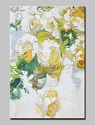 preiswerte -Hang-Ölgemälde Handgemalte - Blumenmuster / Botanisch Modern Segeltuch