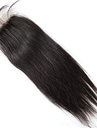 billiga -Brasilianskt hår 4x4 Stängning Rak Fria delen Schweizisk spetsperuk Äkta hår Dagliga kläder