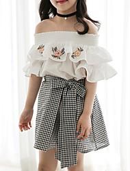 preiswerte -Kinder Mädchen Boho Geometrisch Kurzarm Baumwolle Bluse