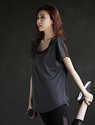 abordables -Mujer Camiseta con cuello redondo Yoga Top - Negro, Gris Deportes Moda Top Fitness Ropa de Deporte Secado rápido, Transpirable, Reductor del Sudor Microelástico