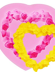Недорогие -любящая роза сердце кружева fondant 3d силиконовая форма сахара конфеты выпечки плесень дий торт украшения инструменты