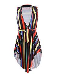 baratos -Mulheres Feriado Delgado Rodado Vestido Decote em V Profundo Cintura Alta Acima do Joelho