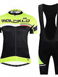 cheap -Malciklo Cycling Jersey with Bib Shorts - Black / Yellow Bike Bib Shorts / Jersey / Clothing Suit, Reflective Strips Lycra / YKK Zipper / Race Fit / Italy Imported Ink