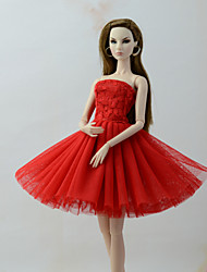 cheap -Dresses Dress For Barbie Doll Red Tulle / Lace / Silk / Cotton Blend Dress For Girl's Doll Toy