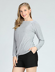 cheap -Suzanne Betro Women's Basic Slim T-shirt - Solid Colored Lace up / Long Sleeve / Spring / Summer