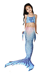 baratos -The Little Mermaid Princesa do Aqua Roupa de Banho Bikini Ocasiões Especiais Para Meninas Crianças Vintage Natal Dia Das Bruxas Carnaval Festival / Celebração Roupa Tinta Azul sereia