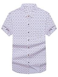 Недорогие -Муж. Офис Большие размеры - Рубашка Хлопок Геометрический принт / С короткими рукавами