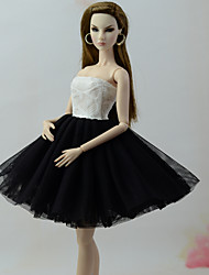 cheap -Dresses Dress For Barbie Doll White / Black Tulle / Lace / Silk / Cotton Blend Dress For Girl's Doll Toy