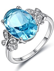 cheap -Women's Cubic Zirconia Hollow Out Ring - Platinum Plated Korean 6 / 7 / 8 Silver For Party / Evening Party