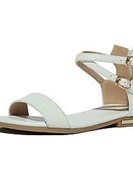 Недорогие -Жен. Обувь Наппа Leather Весна лето Удобная обувь Сандалии На плоской подошве Золотой / Белый / Черный
