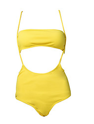 cheap -Women's Basic Strapless Bandeau Tankini - Solid Colored Backless / Lace up Cheeky