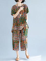 abordables -Mujer Noche Corte Ancho Conjunto - Geométrico Pantalón