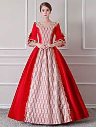 cheap -Rococo / Renaissance / 18th Century Costume Women's Dress / Outfits / Party Costume Red / White Vintage Cosplay Polyster 3/4 Length Sleeve Puff / Balloon Sleeve Floor Length / Long Length Halloween