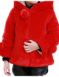 cheap -Kids / Toddler Girls' Basic / Street chic Sports Solid Colored / Print Fur Trim Long Sleeve Cotton Jacket & Coat