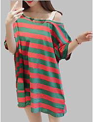 cheap -Women's T-shirt - Solid Colored / Striped / Color Block Print