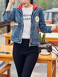 Недорогие -Жен. Тренировочные Уличный стиль Обычная Джинсовая куртка, Современный стиль Капюшон Длинный рукав Полиэстер Белый / Красный L / XL / XXL