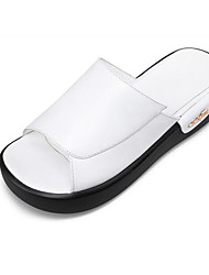 cheap -Women's Shoes Nappa Leather Summer Comfort Slippers & Flip-Flops Flat Heel White / Black