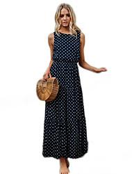 Недорогие -Жен. Классический Оболочка Платье - Однотонный / Горошек U-образный вырез Макси