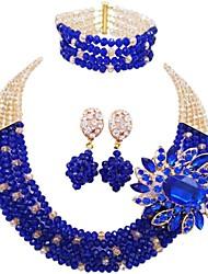 Недорогие -Жен. Многослойность Комплект ювелирных изделий - MOON Мода Включают Струнные ожерелья Зеленый / Ярко-розовый / Светло-коричневый Назначение Для вечеринок