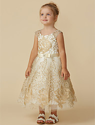 cheap -Princess Knee Length Flower Girl Dress - Lace Sleeveless Jewel Neck with Belt by LAN TING BRIDE®