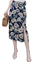 baratos -midi feminino saias de uma linha - floral / sólido colorido
