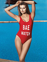 cheap -Women's One Piece Swimsuit Chlorine resistance, Stretchy Polyester / Spandex Sleeveless Swimwear Beach Wear Bodysuit Letter & Number Swimming